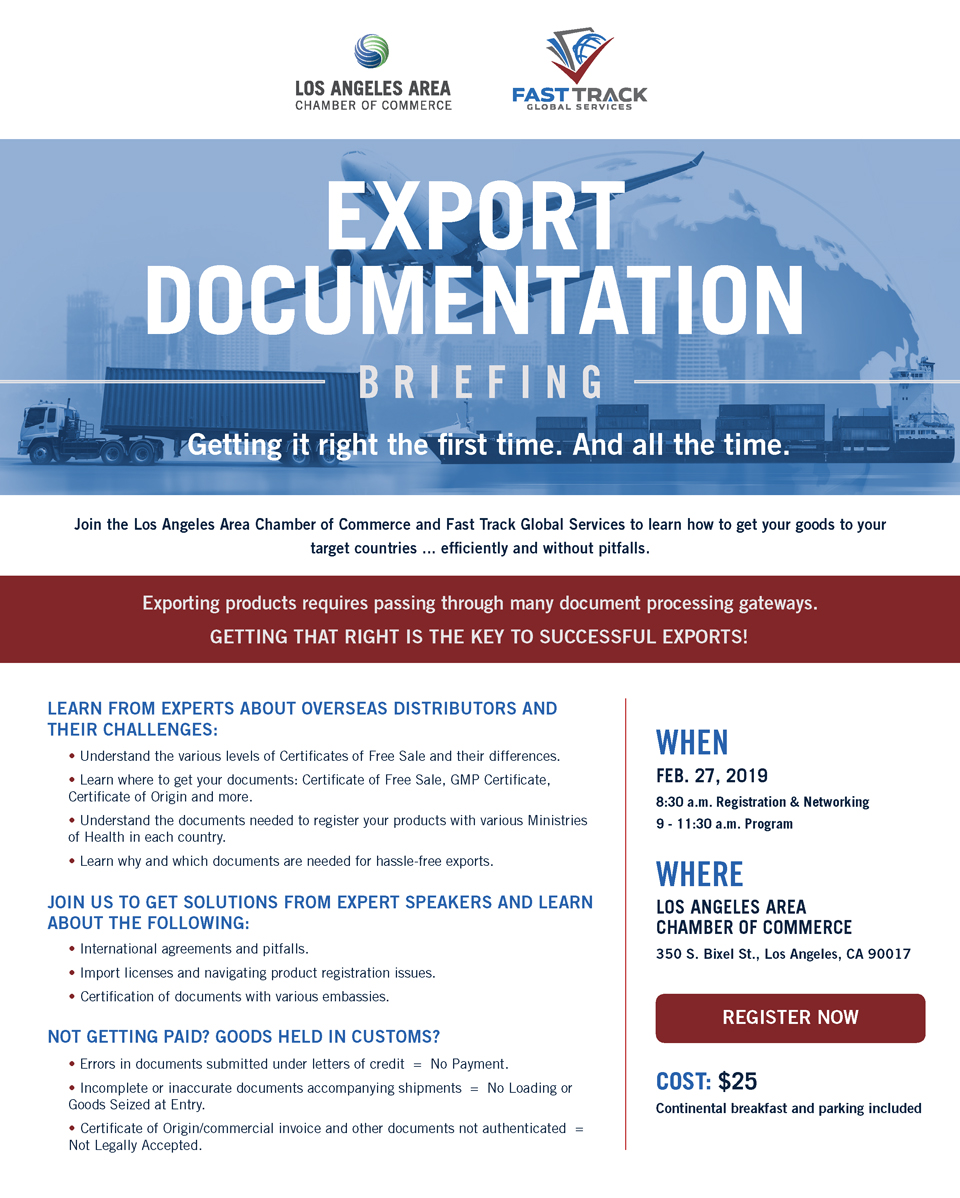 Los Angeles Area Chamber Of Commerce Export Documentation Briefing