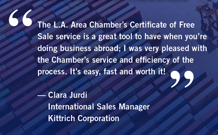 los angeles area chamber of commerce certificates of free sale